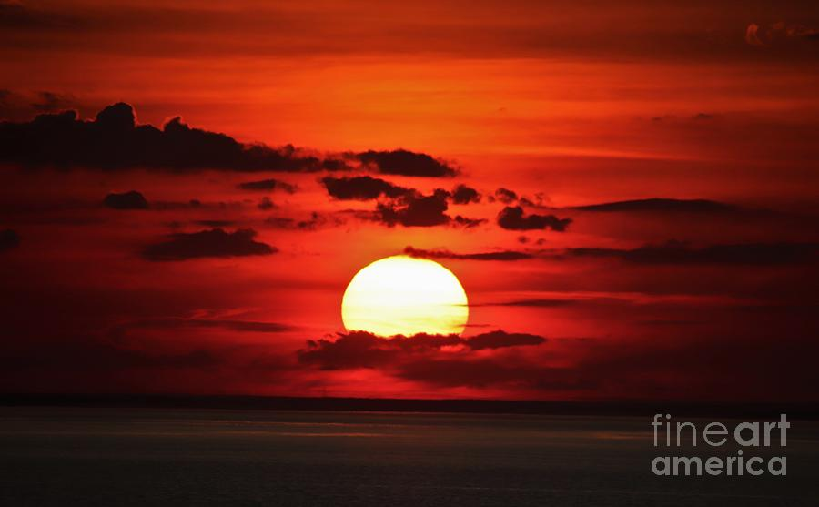 Sky On Fire Over Long Island Sound by Karen Silvestri