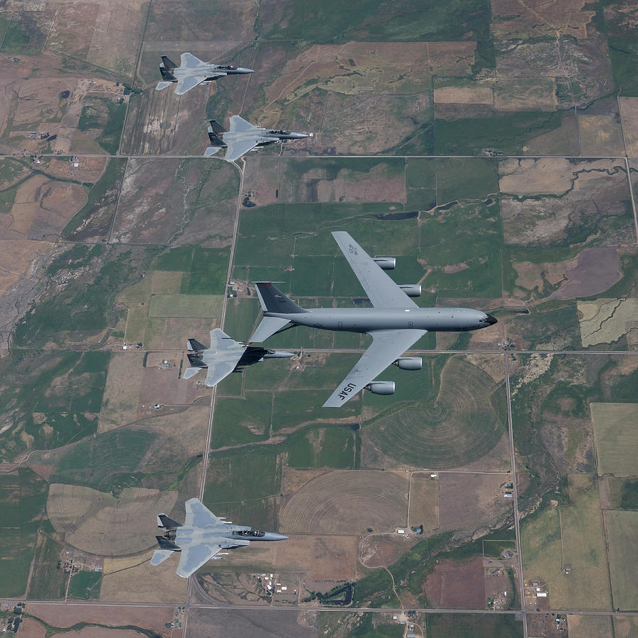 A Kc-135r Stratotanker Refuels Four Photograph by High-g Productions/stocktrek Images