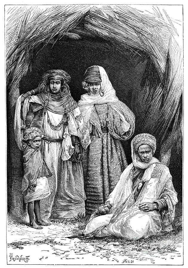 A Khumir Man, Woman And Child, North Drawing by Print Collector