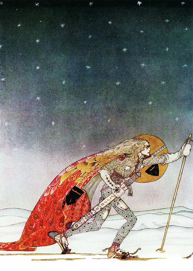 King Painting - A King Who Goes To Find A Wolf That Has Returned To A White Country by Kay Nielsen