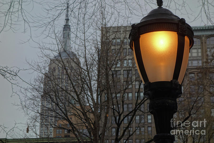 A Lamppost on a Wintry Evening Before the Empire State Building by Wilko Van de Kamp
