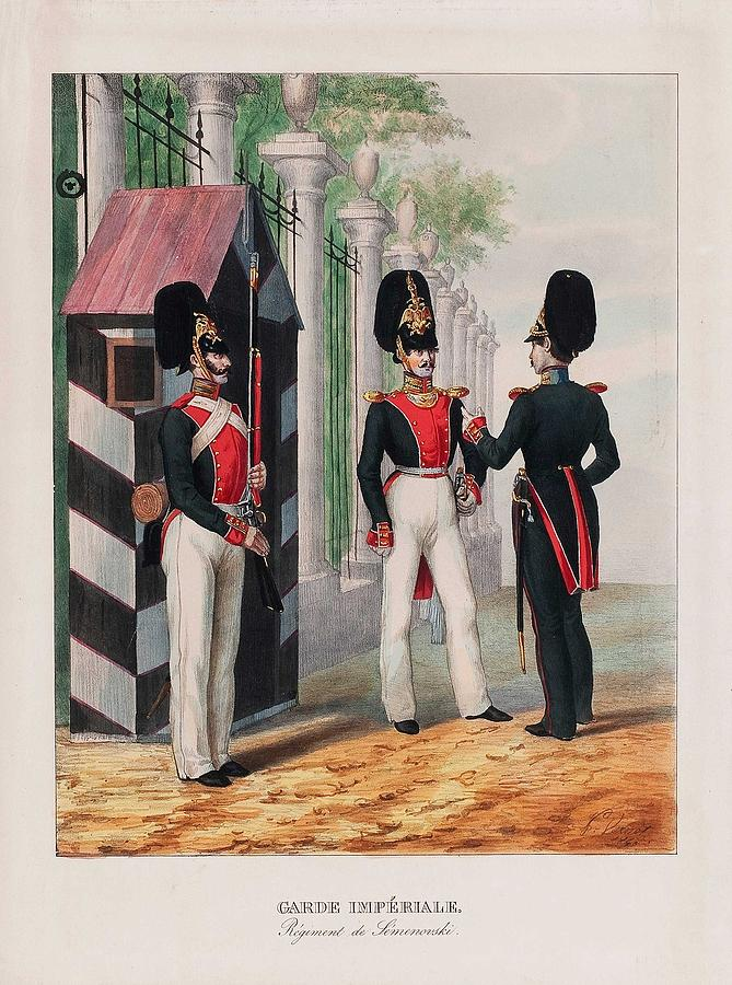 Lithograph Painting - A Lithograph. Garde Imperiale, Regiment De Semenovski. Vernet. First Half Of The 19th Century by Celestial Images
