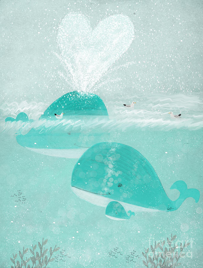Whales Painting - A Little Love by Bri Buckley