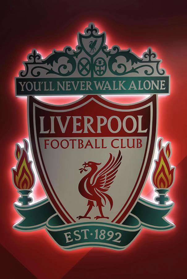 Soccer Photograph - A Logo Placard at Anfield Football Stadium, Liverpool, Merseysid by Derrick Neill