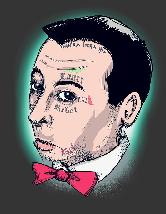 Pee Wee Drawing - A Loner A Rebel by Ludwig Van Bacon