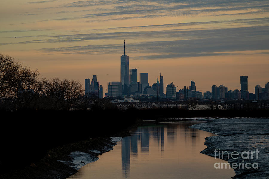 A look at NY city at dusk from a nature preserve by Sam Rino