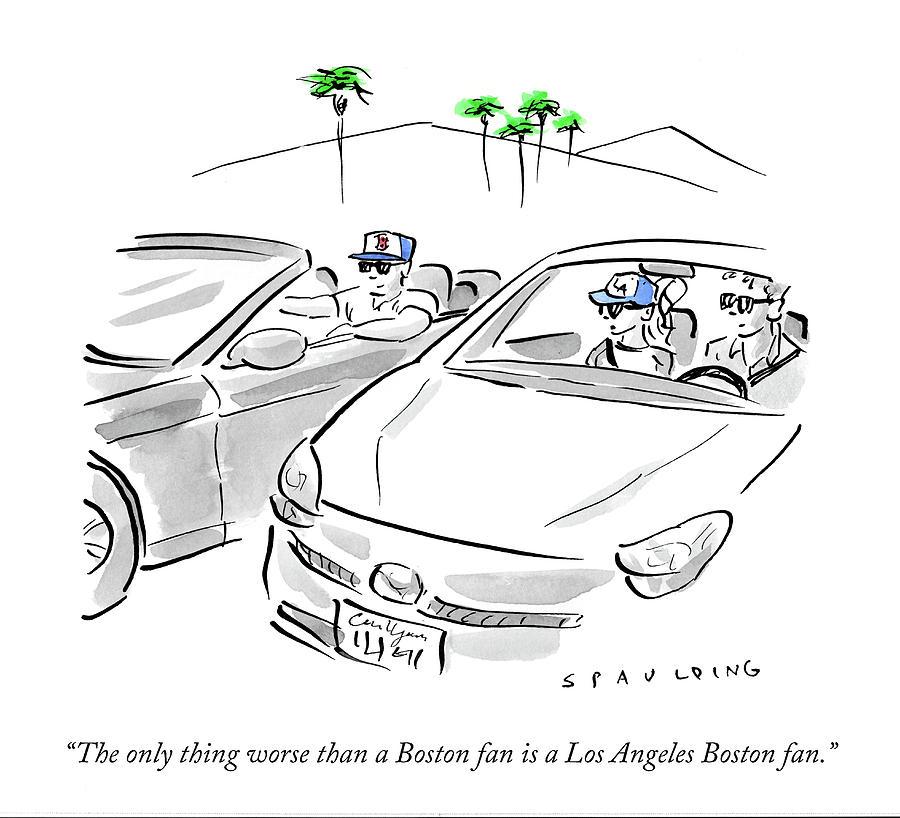 A Los Angeles Boston Fan Drawing by Trevor Spaulding