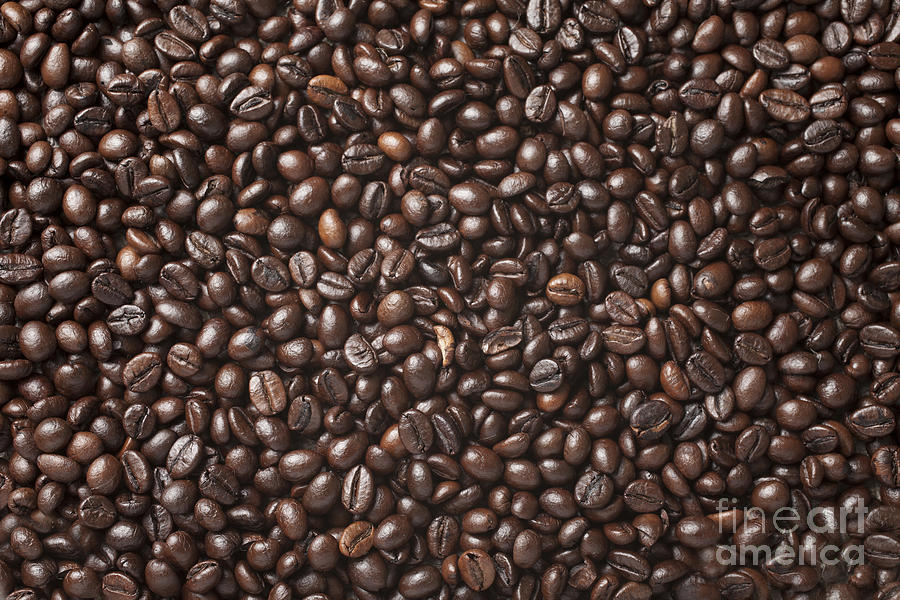 Heat Photograph - A Lot Of Roasted Coffee Beans Which by Wait For