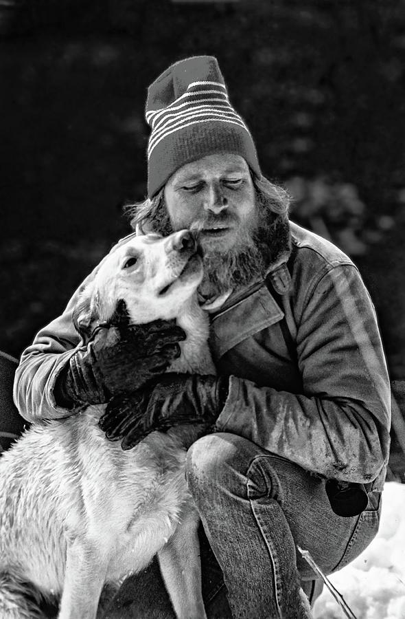 Film Photograph - A Man And His Dog 3 bw by Steve Harrington