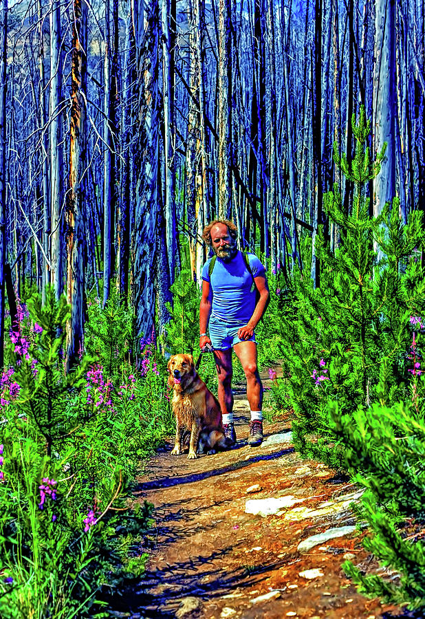A Man And His Dog - Hiking In The Canadian Rockies - Paint Photograph