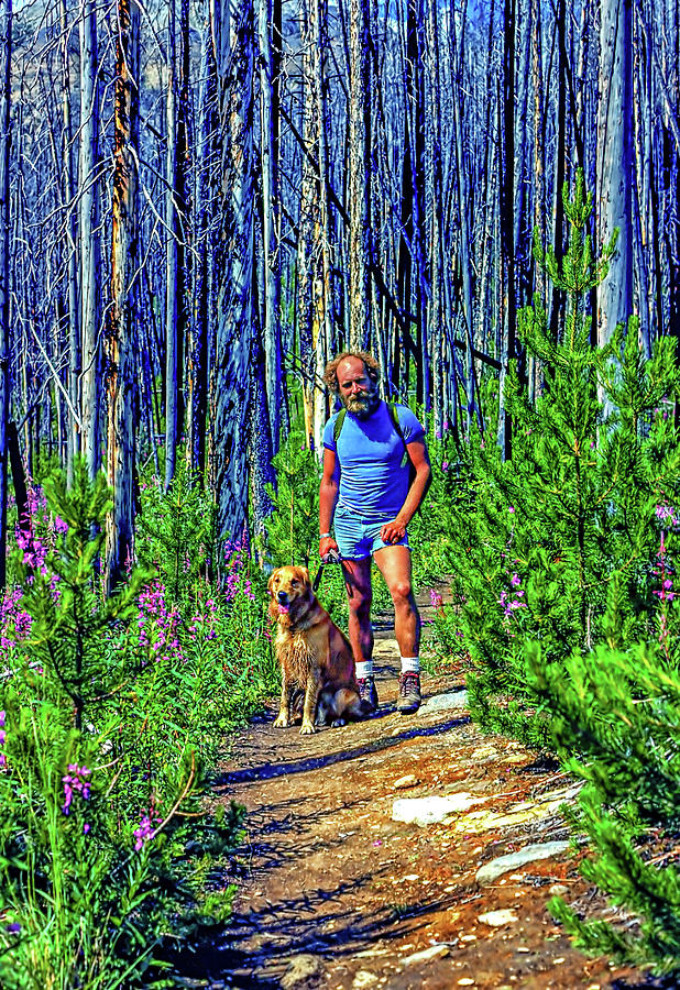 A Man And His Dog - Hiking In The Canadian Rockies Photograph