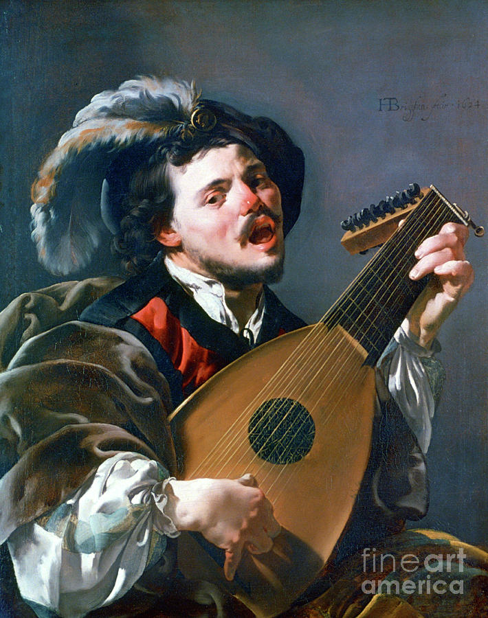 A Man Playing A Lute, 1624. Artist Drawing by Print Collector