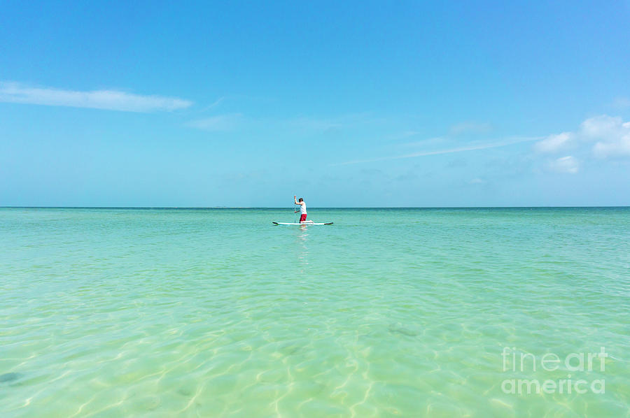 Anna Maria Island Photograph - A Man Rides A Paddleboard In The Shallow Waters Near The City Pi by William Kuta