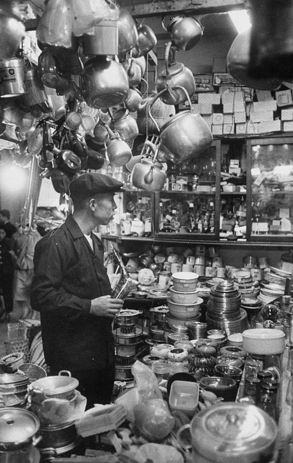 A Man Shopping In A Store.  Photo By Jo Photograph by John Dominis