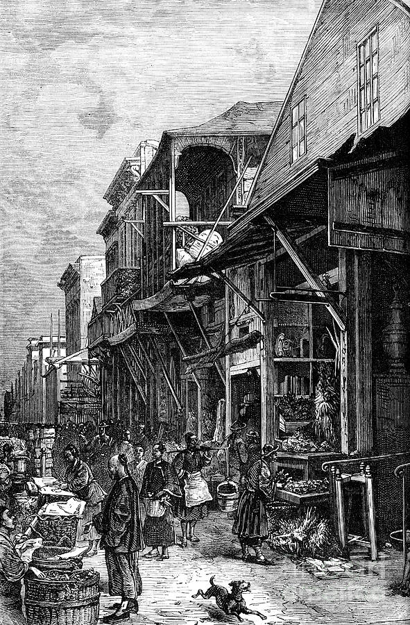 A Market Place In San Francisco Drawing by Print Collector