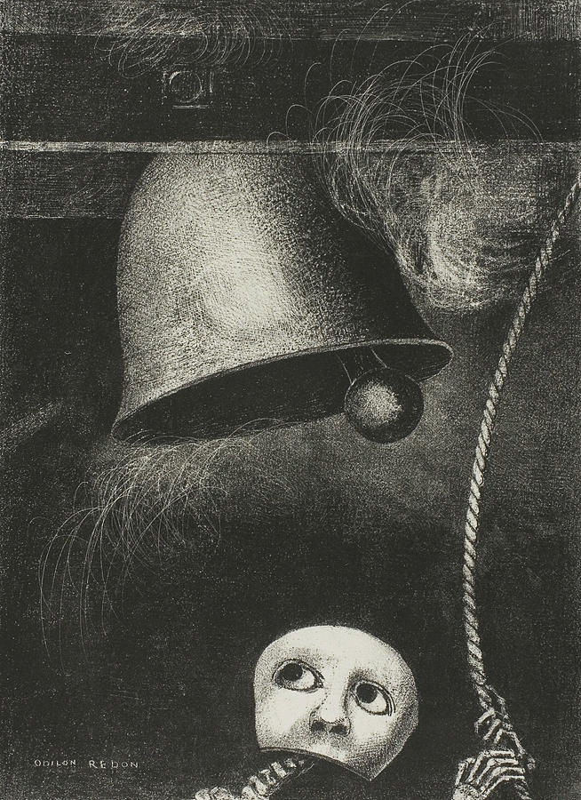 French Painters Relief - A Mask Sounds The Funeral Knell, Plate Three From To Edgar Poe by Odilon Redon