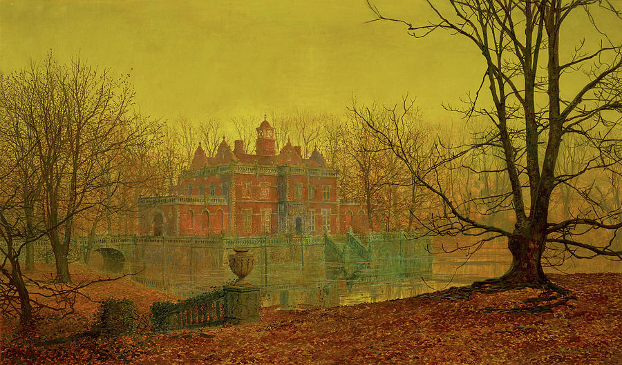 A Moated Yorkshire Home Painting By John Atkinson Grimshaw