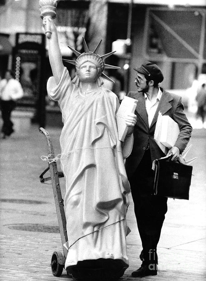 A Model Of Lady Liberty Was Being Sold Photograph by New York Daily News Archive