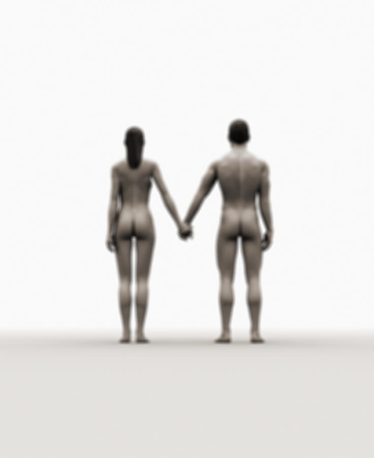 A Naked Couple Holding Hands Digital Art by Jorg Greuel