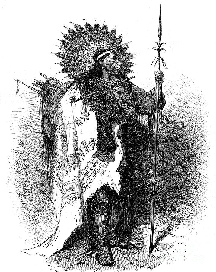 A Native American, Usa, 19th Drawing by Print Collector
