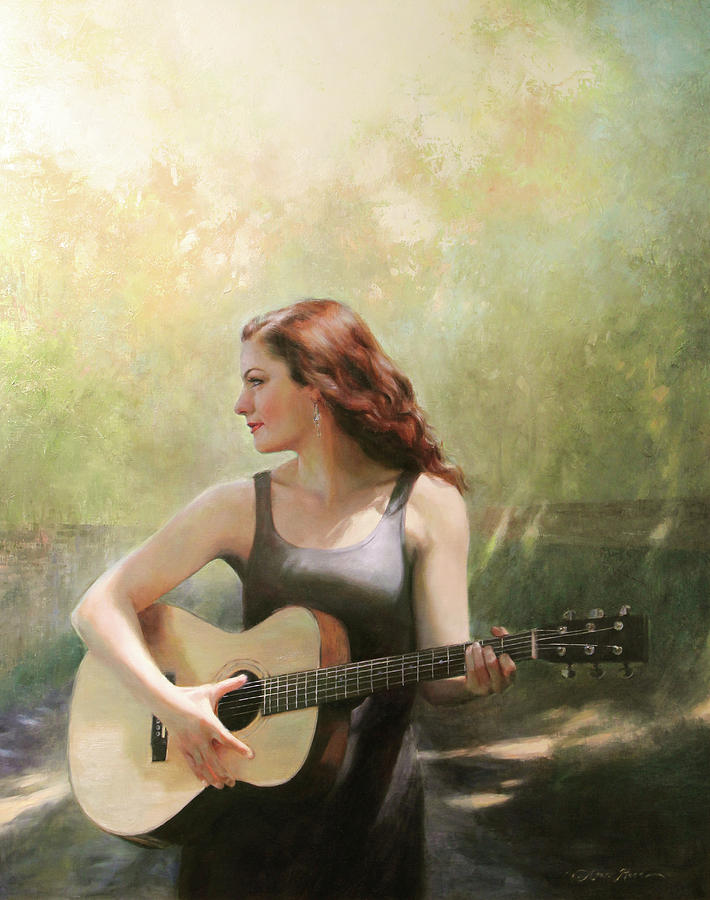Guitar Painting - A New Road by Anna Rose Bain