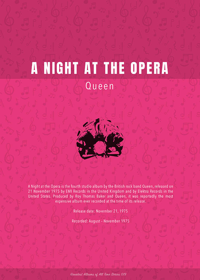 A Night At The Opera Mixed Media - A Night At The Opera Queen The Greatest Albums Of All Time Minimalist Series by Design Turnpike