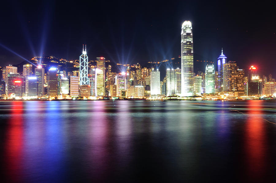A Night View Of Victoria Harbour Photograph by Caleb Li
