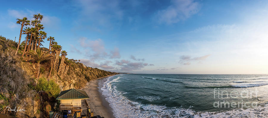 A Panoramic View of Swami's Beach with Cliffs at Sunset by David Levin