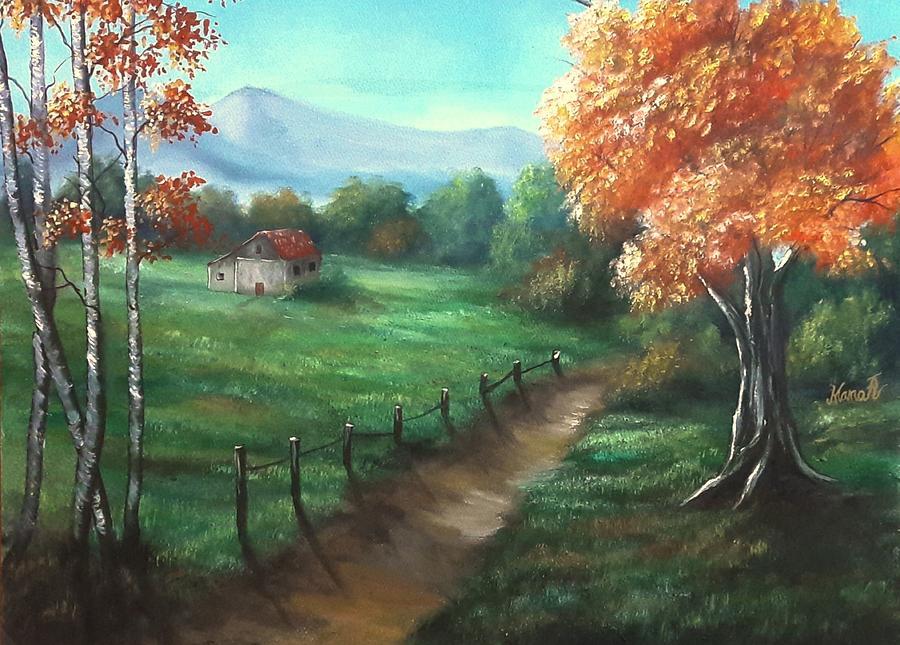 Tree Painting - A Path Through a Meadow  by Manar Hawsawi