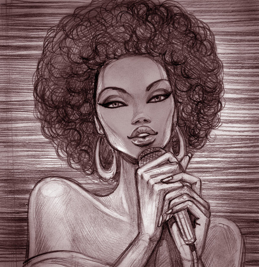 A pencil sketch of a female singer with