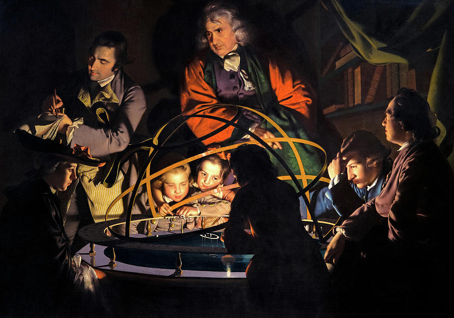 Joseph Wright Of Derby Painting - A Philosopher Giving That Lecture On The Orrery, In Which A Lamp Is Put In The Place Of The Sun,1766 by Joseph Wright of Derby