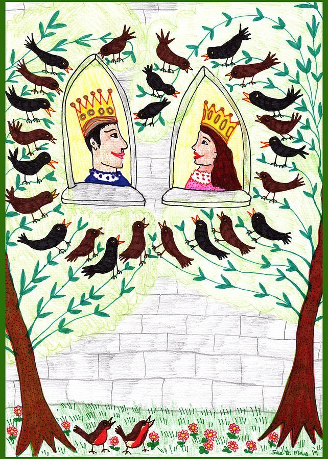 Nursery Rhyme Drawing - A pocketful of peas 2 by Sushila Burgess