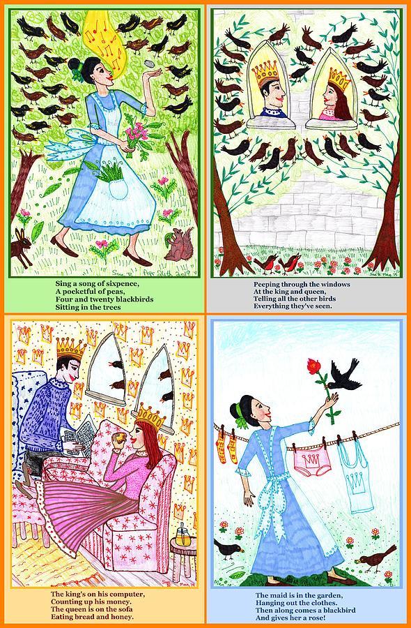 Nursery Rhyme Drawing - A Pocketful Of Peas by Sushila Burgess
