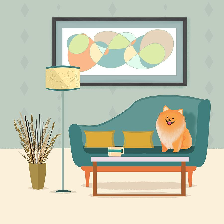 Dog Painting - A Pomeranian Makes A House A Home by Little Bunny Sunshine