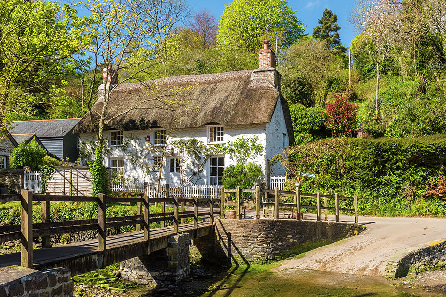 Britain Photograph - A pretty thatched Cottage, Helford, Cornwall by David Ross