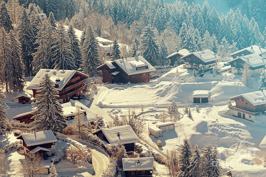 Hut Photograph - A Quaint Village In The Swiss Alps by Saphotog