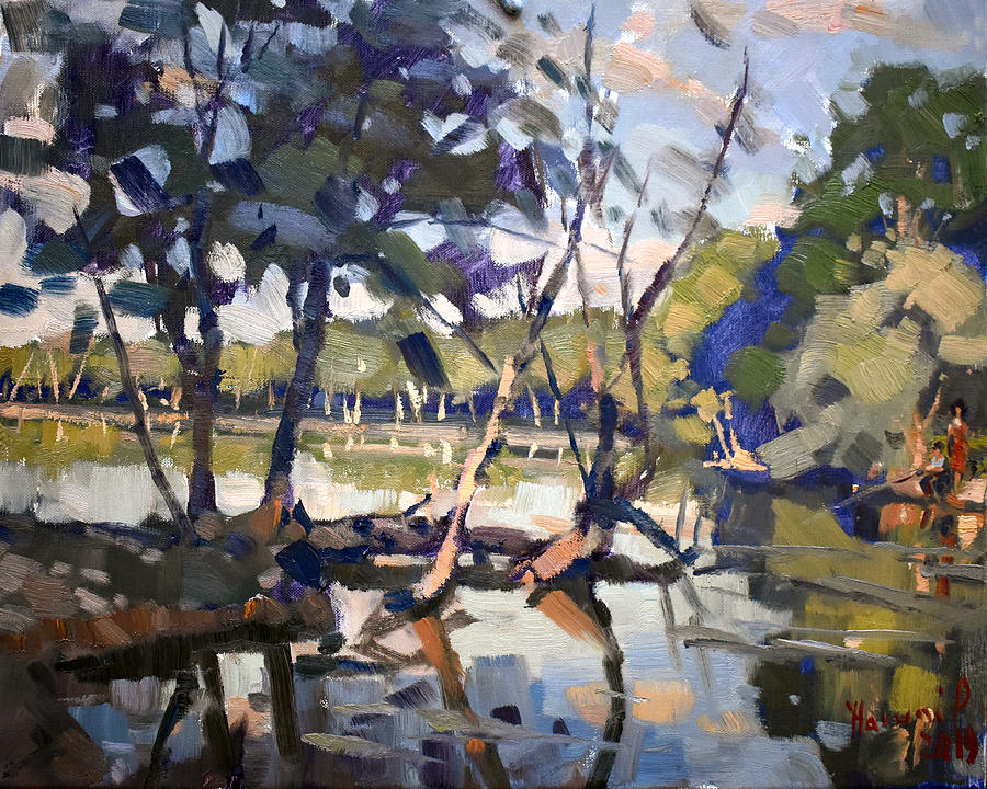 Quiet Painting - A Quiet Evening at Bond Lake Park by Ylli Haruni