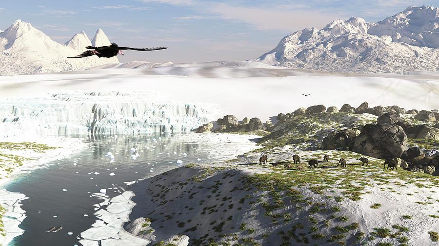 A Receding Glacial Scene Circa 18,000 Digital Art by Arthur Dorety/stocktrek Images