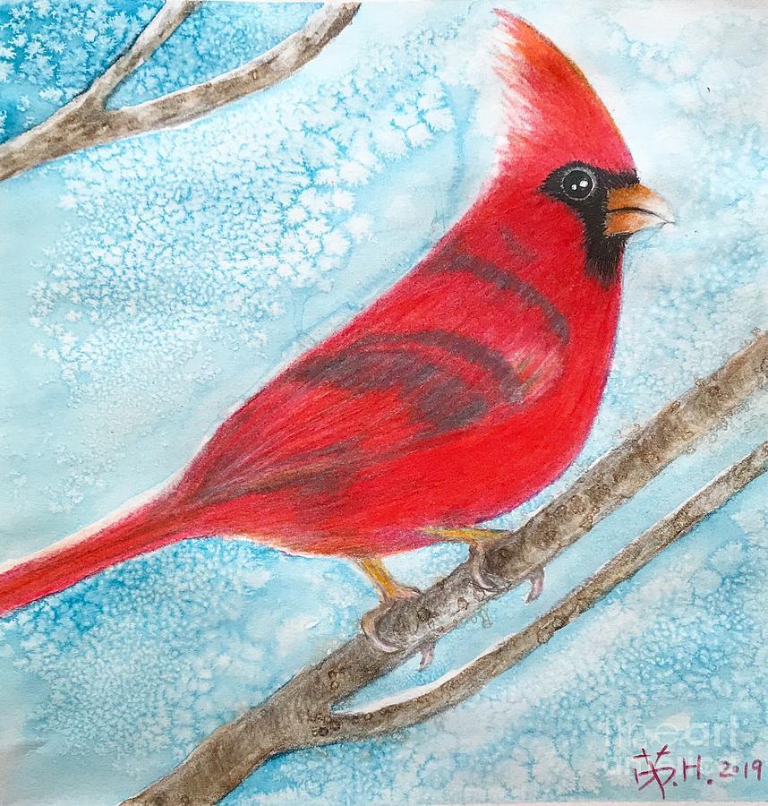 Red Bird Mixed Media - A Red Bird  by Wonju Hulse