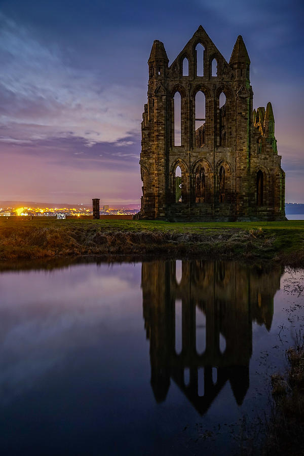 A Reflection Of Whitby Abbey In England Seen On A Beautiful Night. Photograph