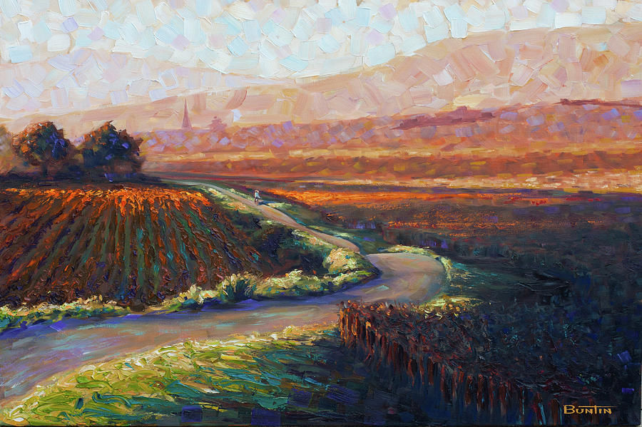 Burgundy Painting - Burgundy Autumn art print by Rob Buntin