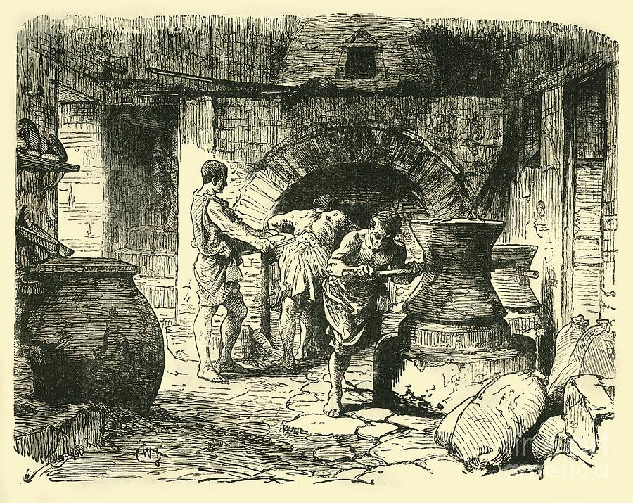 A Roman Bakery Drawing by Print Collector