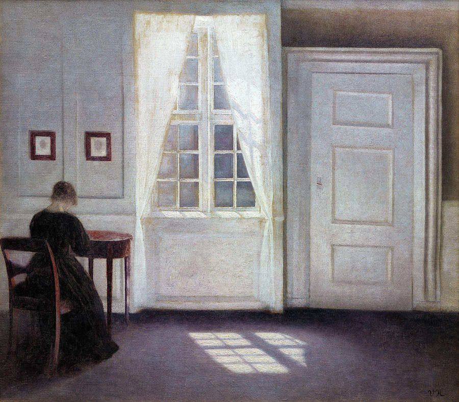 Vilhelm Hammershoi Painting - A Room In The Artists Home In Strandgade, Copenhagen, With The Artists Wife - Digital Remastered by Vilhelm Hammershoi