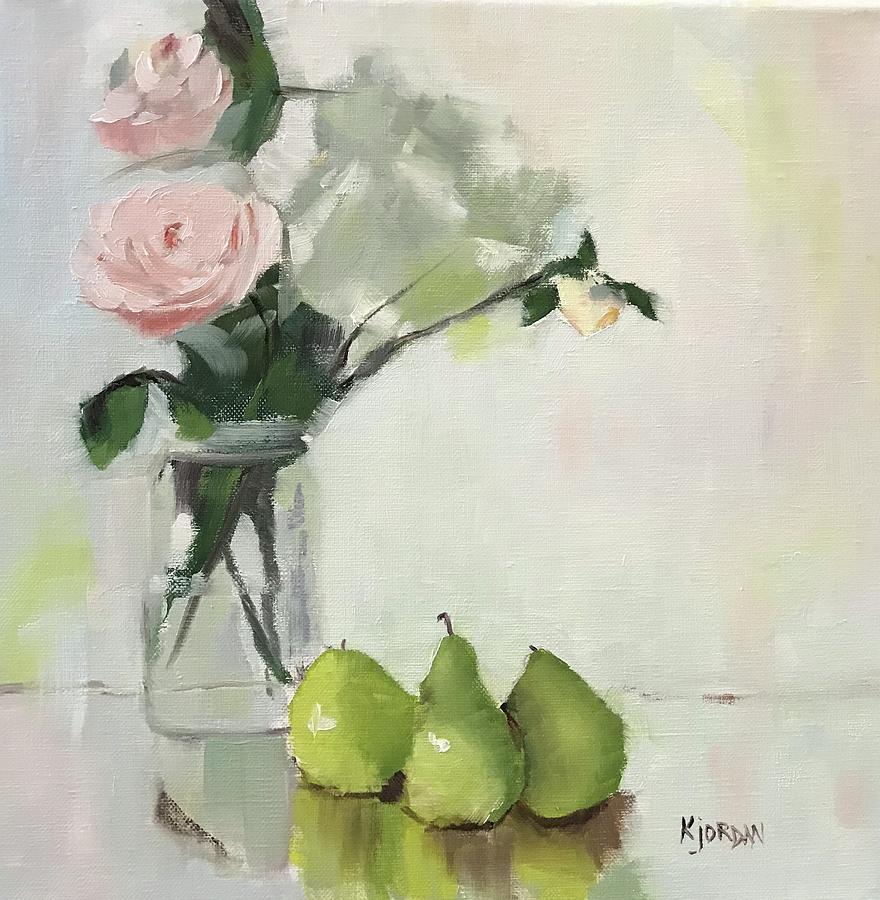 Roses Painting - A Rose Of A Pear by Karen Jordan