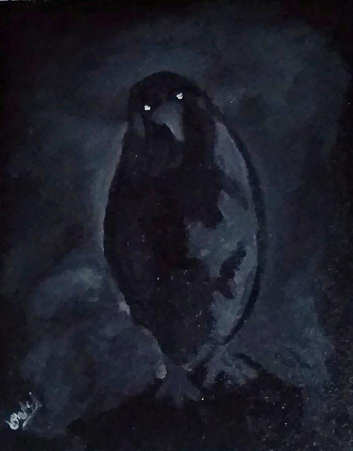 A scary crow Painting by Devendra Patel