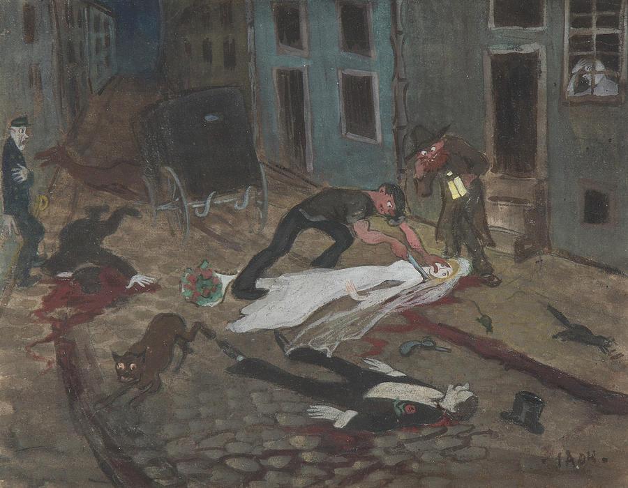 Swedish Painters Drawing - A Scary Nighttime Scene by Ivar Arosenius
