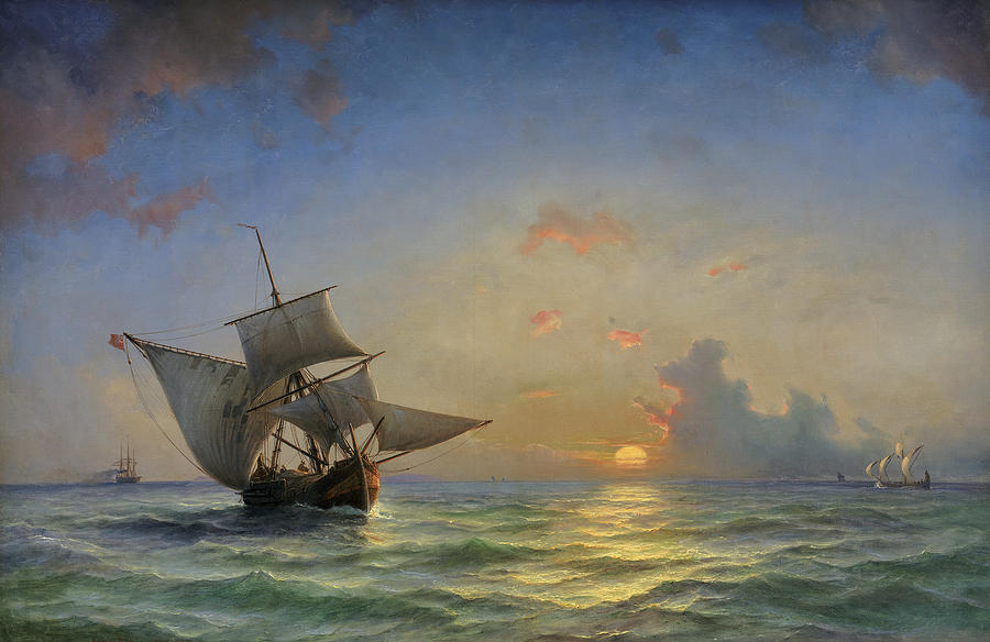 Boats Painting - A Seascape by Anton Melbye