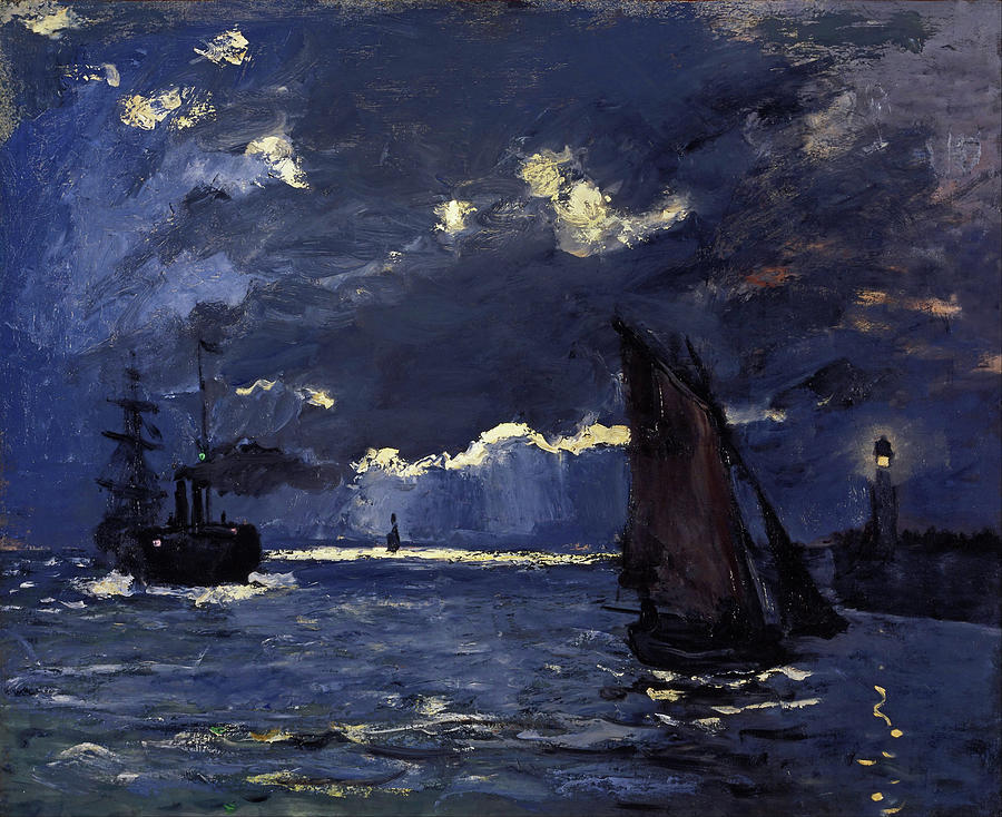 Claude Monet Painting - A Seascape, Shipping By Moonlight - Digital Remastered Edition by Claude Monet