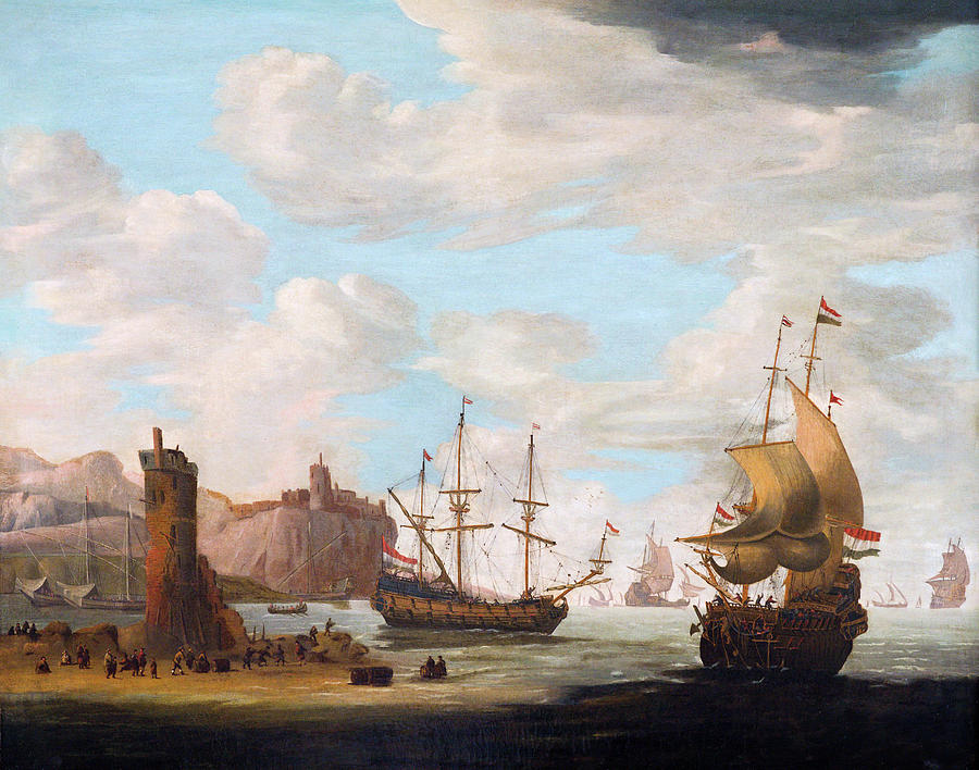 A Seascape with Tall Ships by Attributed to Adam Silo