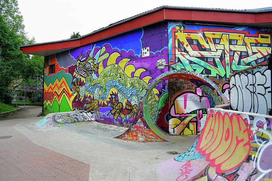 A Section Of The Skateboard Park and Street Art In Freetown Christiania by Richard Rosenshein
